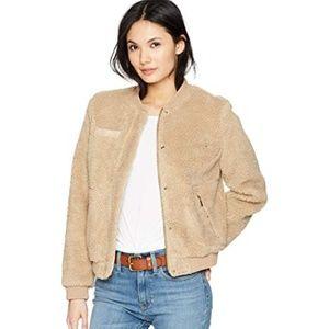 Levis Sherpa Faux Fur Coat Teddy Tan Bomber Jacket